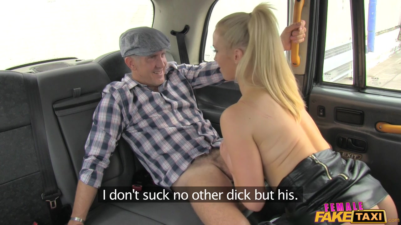 busty blonde female taxi driver gives a good blowjob for an old man