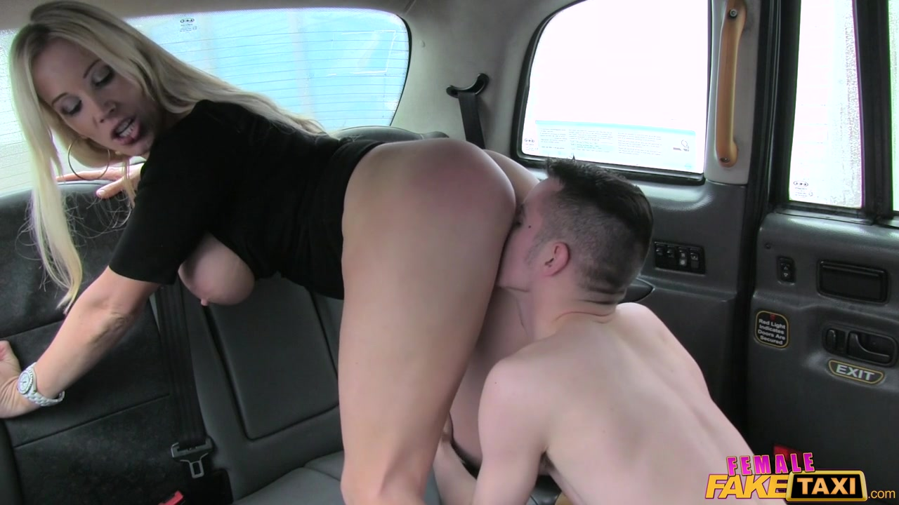 female fake taxi: another horny blonde is giving a head in the backseat